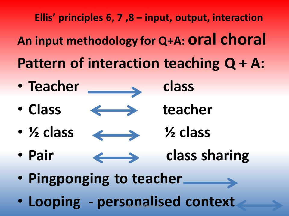 Ellis' principles 6, 7,8 – input, output, interaction An input methodology for Q+A: oral choral Pattern of interaction teaching Q + A: Teacher class C