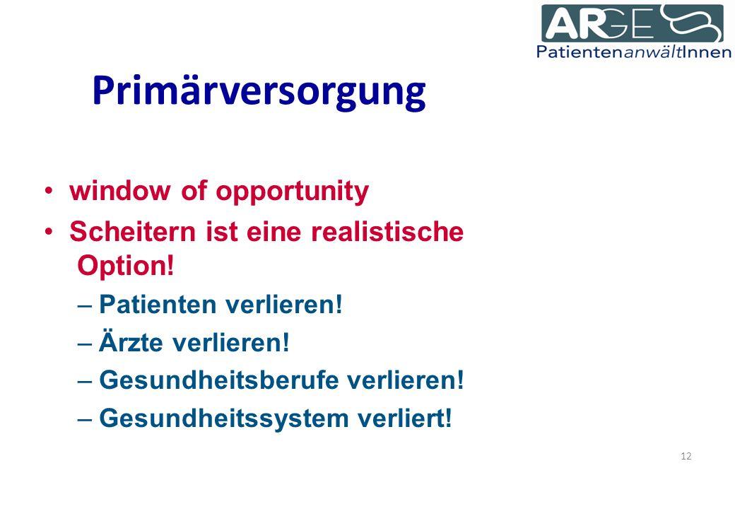 Primärversorgung window of opportunity Scheitern ist eine realistische Option.