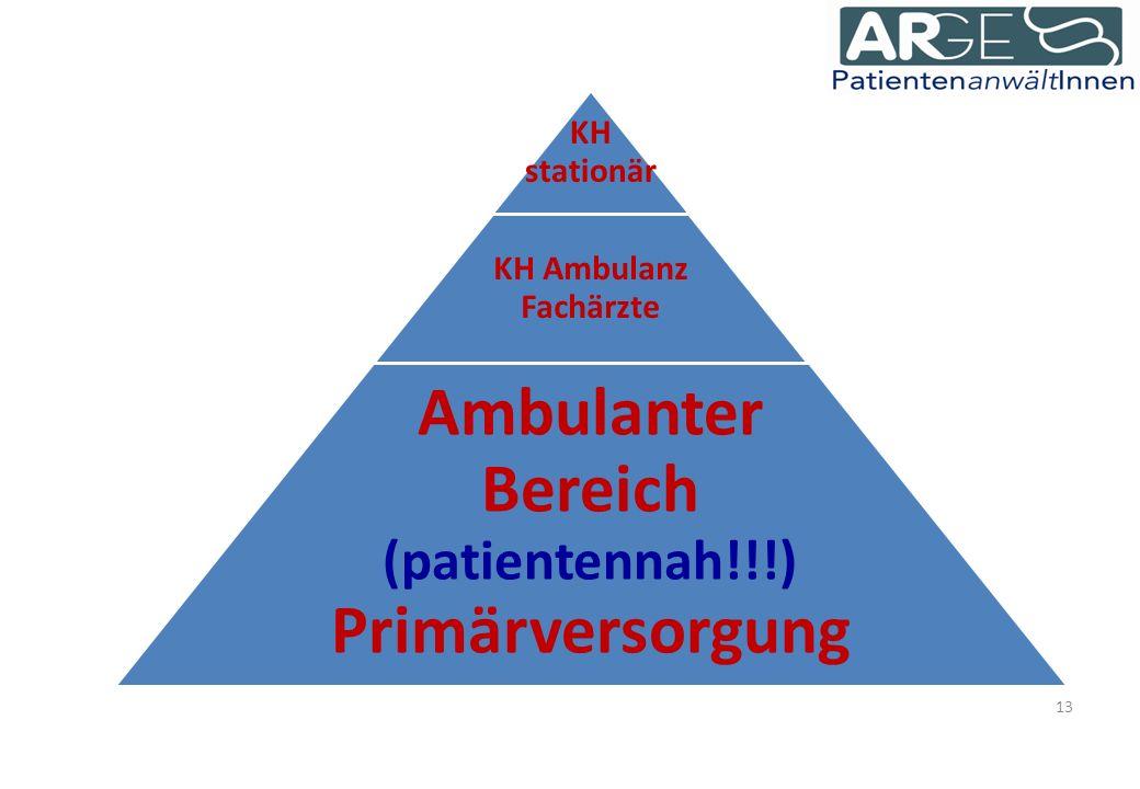13 KH stationär KH Ambulanz Fachärzte Ambulanter Bereich (patientennah!!!) Primärversorgung