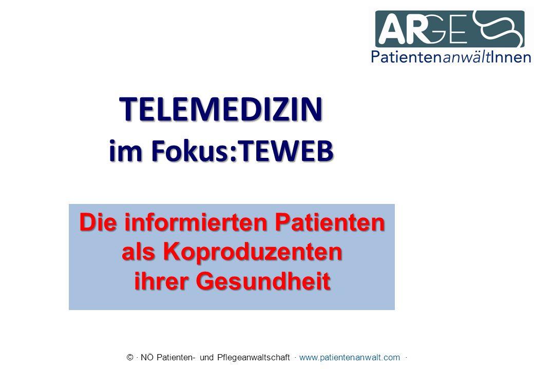 © · NÖ Patienten- und Pflegeanwaltschaft · www.patientenanwalt.com · TELEMEDIZIN im Fokus:TEWEB Die informierten Patienten als Koproduzenten ihrer Gesundheit