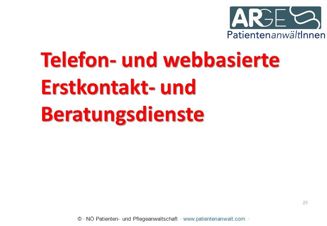 © · NÖ Patienten- und Pflegeanwaltschaft · www.patientenanwalt.com · Telefon- und webbasierte Erstkontakt- und Beratungsdienste 25