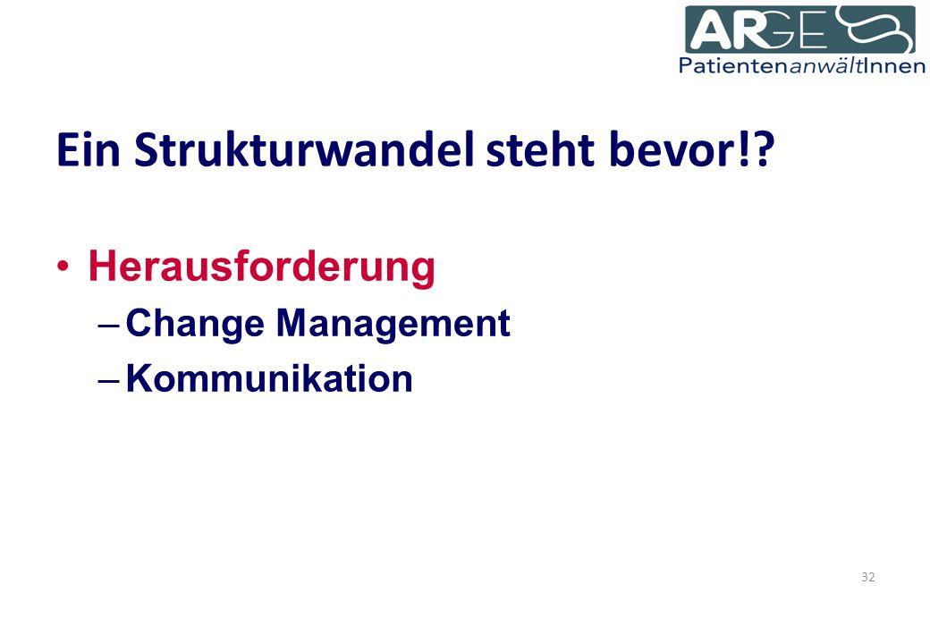 Ein Strukturwandel steht bevor! Herausforderung –Change Management –Kommunikation 32