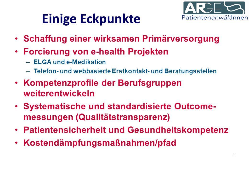 Einige Eckpunkte Schaffung einer wirksamen Primärversorgung Forcierung von e-health Projekten –ELGA und e-Medikation –Telefon- und webbasierte Erstkontakt- und Beratungsstellen Kompetenzprofile der Berufsgruppen weiterentwickeln Systematische und standardisierte Outcome- messungen (Qualitätstransparenz) Patientensicherheit und Gesundheitskompetenz Kostendämpfungsmaßnahmen/pfad 5