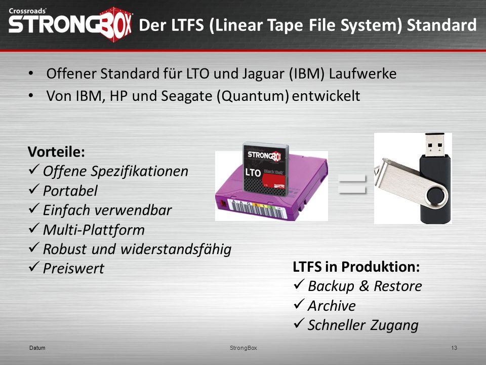 DatumStrongBox13 Offener Standard für LTO und Jaguar (IBM) Laufwerke Von IBM, HP und Seagate (Quantum) entwickelt Vorteile: Offene Spezifikationen Por