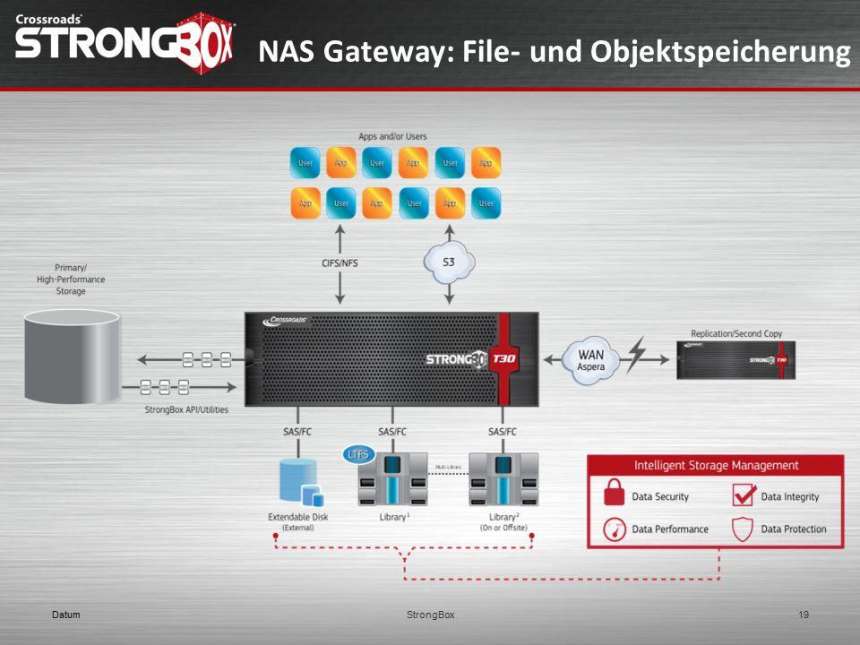 NAS Gateway: File- und Objektspeicherung DatumStrongBox19