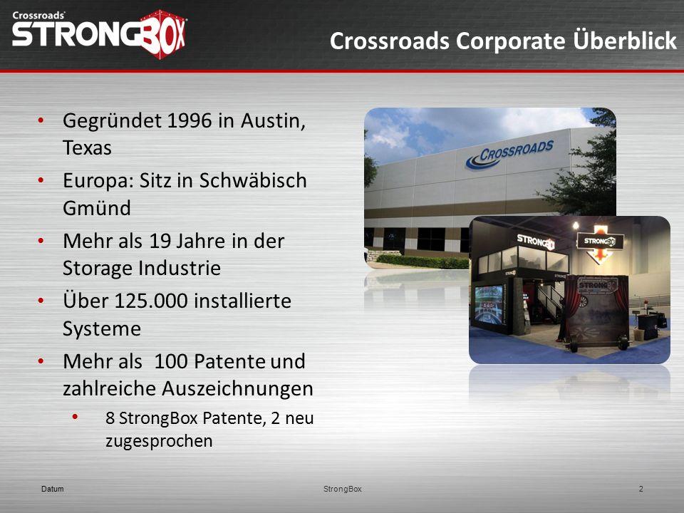 Crossroads Corporate Überblick Gegründet 1996 in Austin, Texas Europa: Sitz in Schwäbisch Gmünd Mehr als 19 Jahre in der Storage Industrie Über 125.00