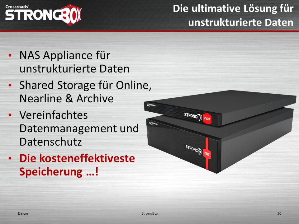 Die ultimative Lösung für unstrukturierte Daten NAS Appliance für unstrukturierte Daten Shared Storage für Online, Nearline & Archive Vereinfachtes Da