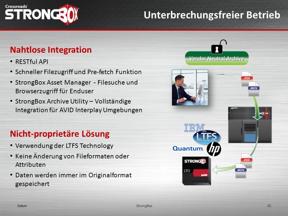Unterbrechungsfreier Betrieb DatumStrongBox26 Nahtlose Integration RESTful API Schneller Filezugriff und Pre-fetch Funktion StrongBox Asset Manager -