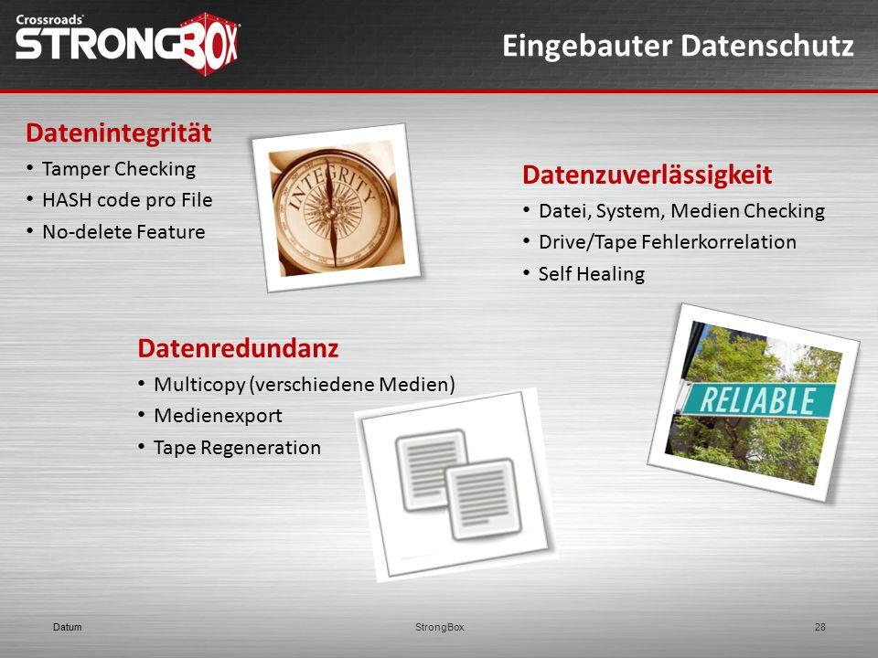 Eingebauter Datenschutz DatumStrongBox28 Datenintegrität Tamper Checking HASH code pro File No-delete Feature Datenzuverlässigkeit Datei, System, Medi