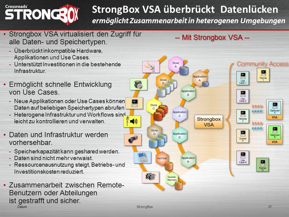 DatumStrongBox37 StrongBox VSA überbrückt Datenlücken ermöglicht Zusammenarbeit in heterogenen Umgebungen -- Mit Strongbox VSA -- Strongbox VSA virtua