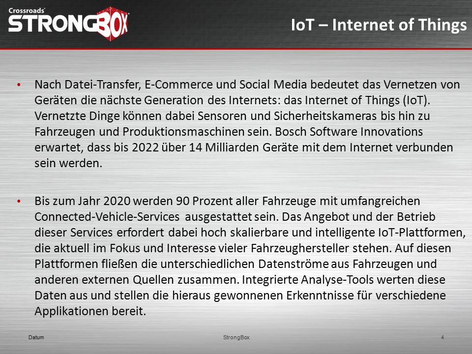 IoT – Internet of Things Nach Datei-Transfer, E-Commerce und Social Media bedeutet das Vernetzen von Geräten die nächste Generation des Internets: das