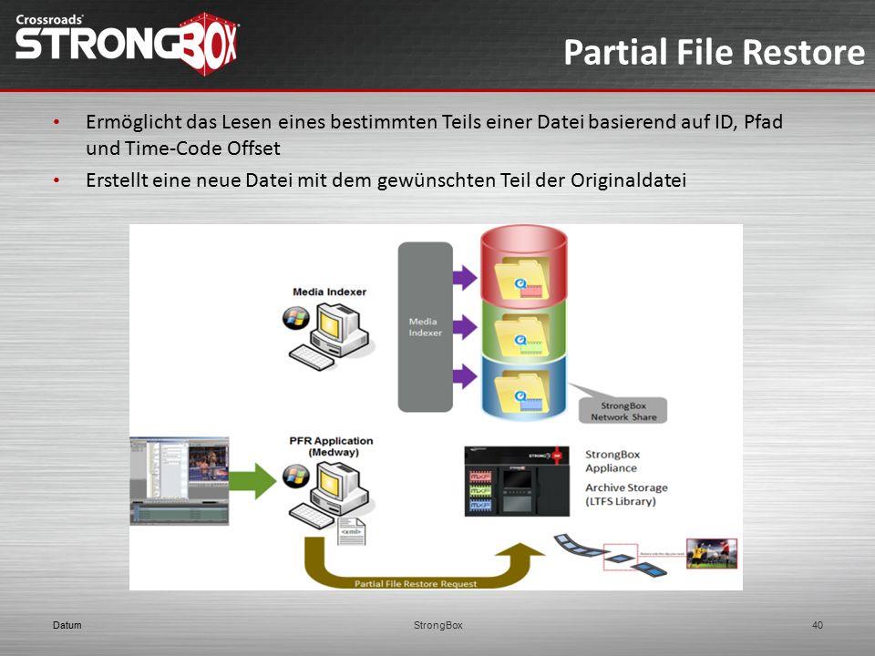 Partial File Restore DatumStrongBox40 Ermöglicht das Lesen eines bestimmten Teils einer Datei basierend auf ID, Pfad und Time-Code Offset Erstellt ein