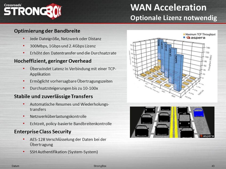 StrongBox Datum 43 WAN Acceleration Optionale Lizenz notwendig Optimierung der Bandbreite Jede Dateigröße, Netzwerk oder Distanz 300Mbps, 1Gbps und 2.
