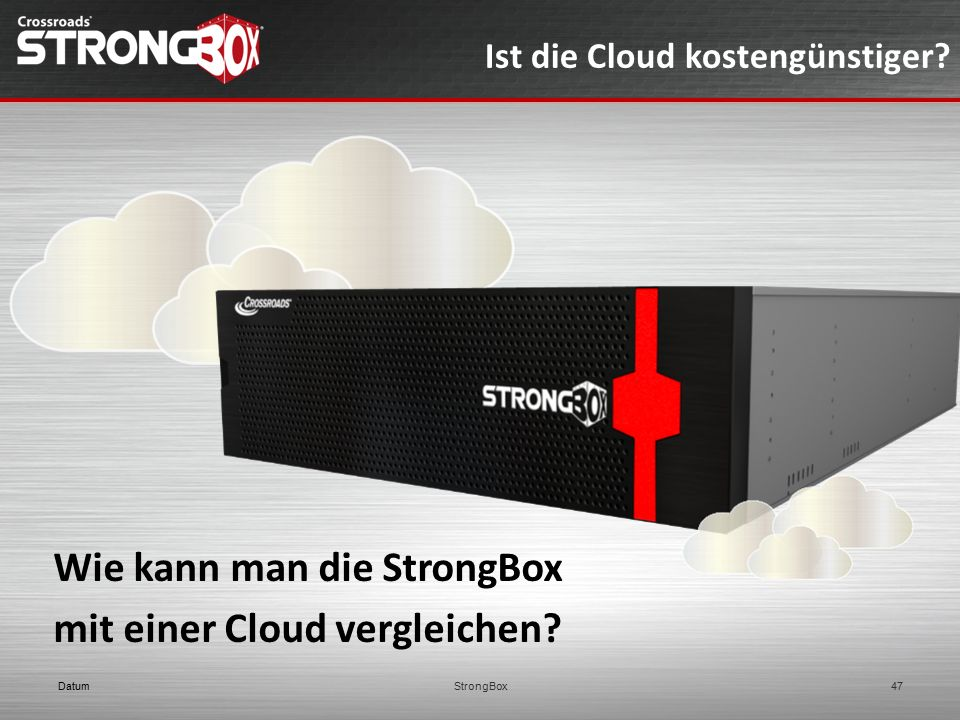 Wie kann man die StrongBox mit einer Cloud vergleichen? Ist die Cloud kostengünstiger? DatumStrongBox47