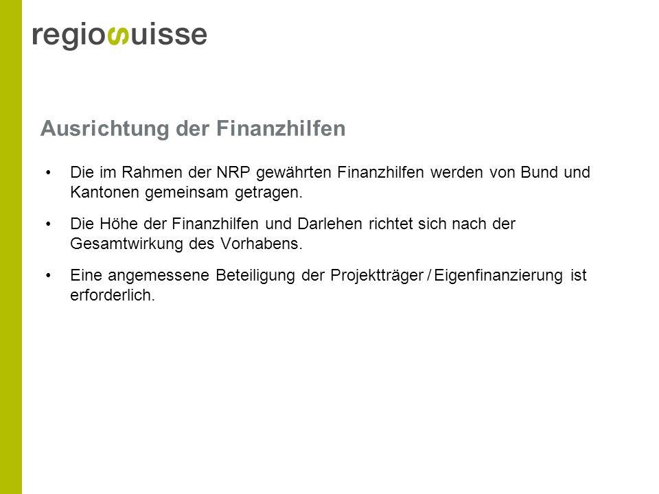 Ausrichtung der Finanzhilfen Die im Rahmen der NRP gewährten Finanzhilfen werden von Bund und Kantonen gemeinsam getragen.
