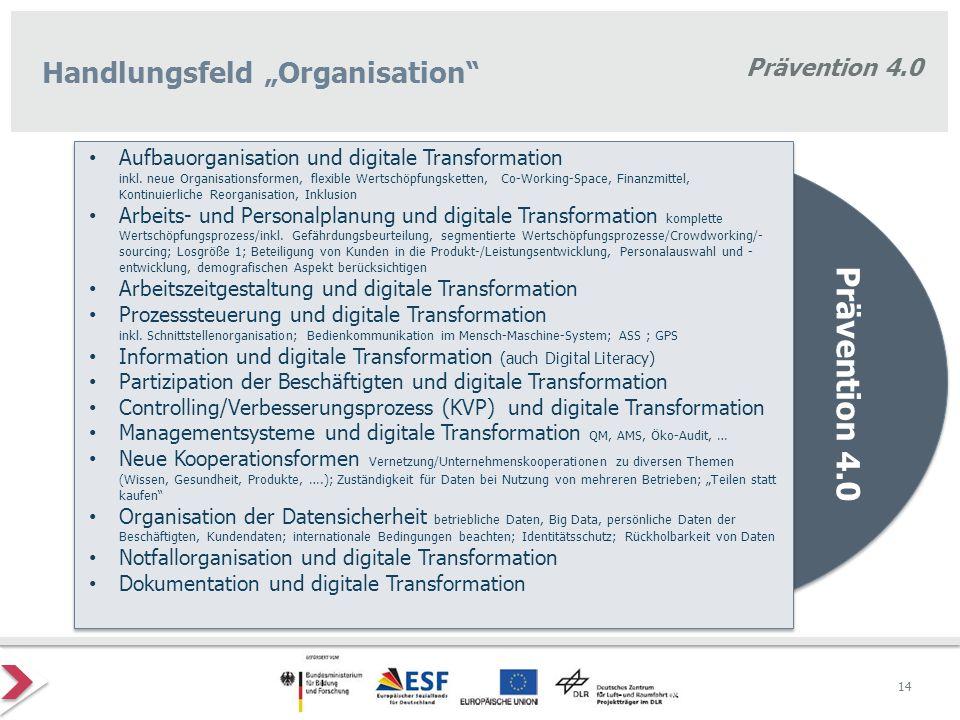 """Prävention 4.0 Handlungsfeld """"Organisation"""" Prävention 4.0 Aufbauorganisation und digitale Transformation inkl. neue Organisationsformen, flexible Wer"""