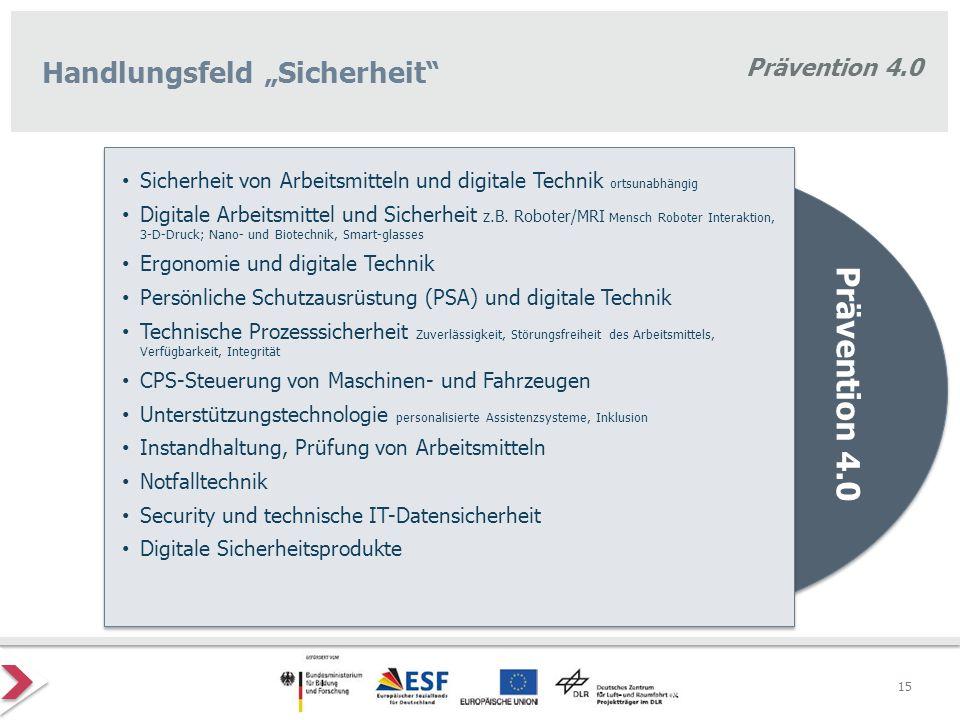 """Prävention 4.0 Handlungsfeld """"Sicherheit"""" Prävention 4.0 Sicherheit von Arbeitsmitteln und digitale Technik ortsunabhängig Digitale Arbeitsmittel und"""