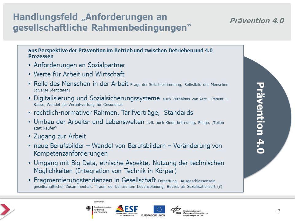 """Prävention 4.0 Handlungsfeld """"Anforderungen an gesellschaftliche Rahmenbedingungen"""" Prävention 4.0 aus Perspektive der Prävention im Betrieb und zwisc"""