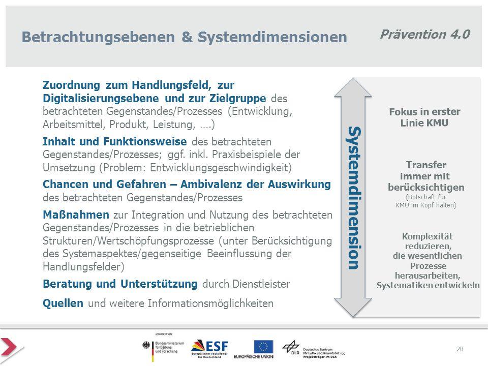 Prävention 4.0 Zuordnung zum Handlungsfeld, zur Digitalisierungsebene und zur Zielgruppe des betrachteten Gegenstandes/Prozesses (Entwicklung, Arbeits