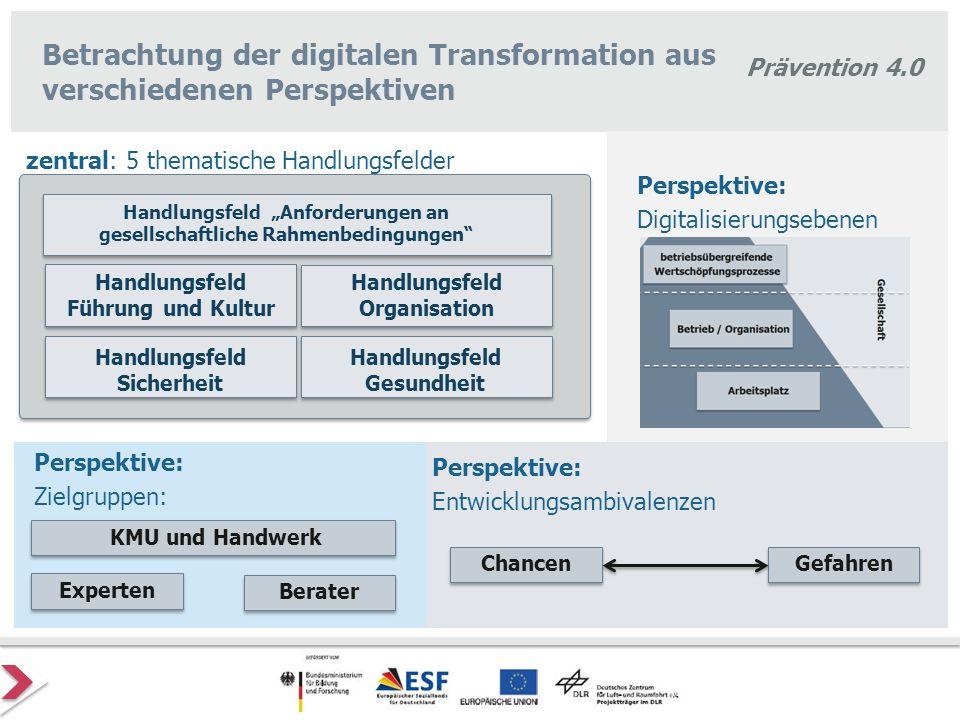 Prävention 4.0 Betrachtung der digitalen Transformation aus verschiedenen Perspektiven KMU und Handwerk Berater Experten Handlungsfeld Organisation Ha