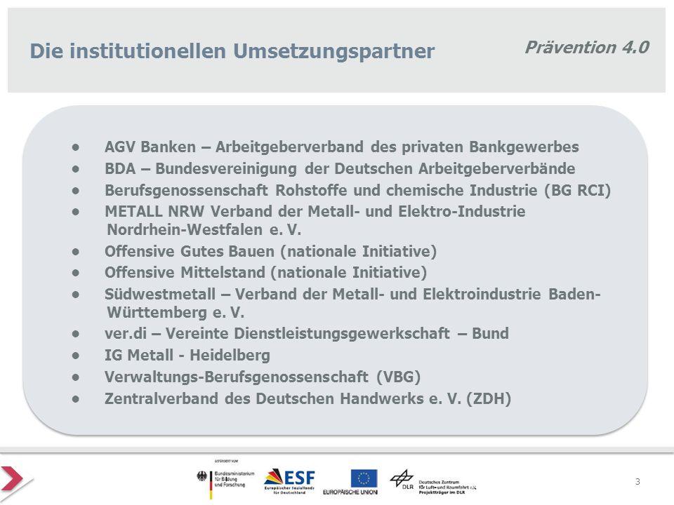 Prävention 4.0 3 Die institutionellen Umsetzungspartner AGV Banken – Arbeitgeberverband des privaten Bankgewerbes BDA – Bundesvereinigung der Deutsche