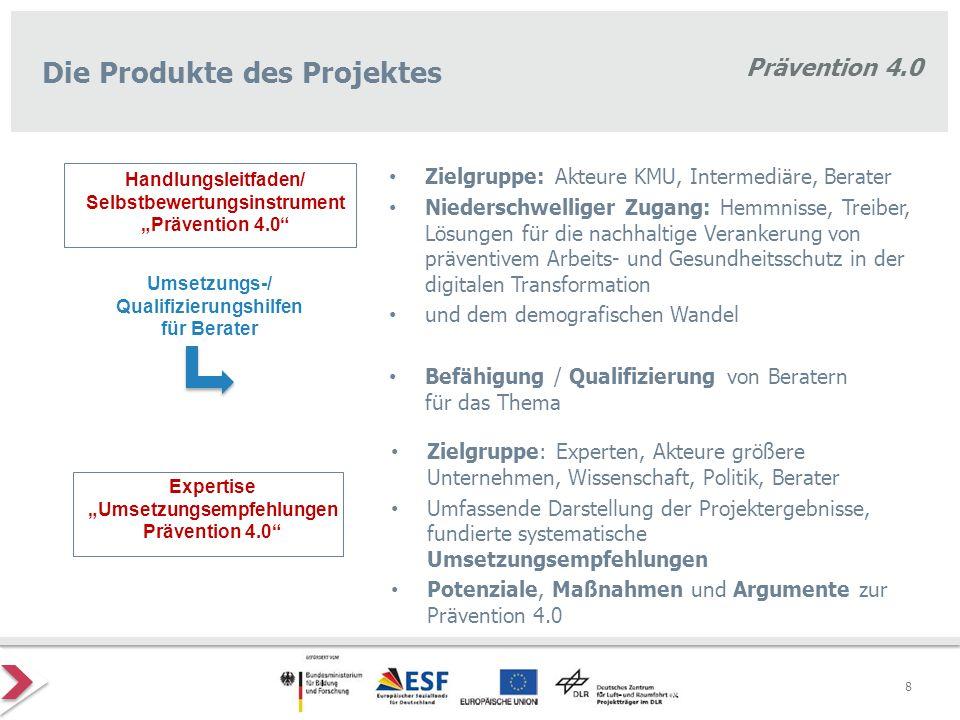 Prävention 4.0 Wertschöpfungsprozesse in und zwischen Betrieben (auch segmentierte) Gesamt- und Teilperspektive des Projektes Prävention 4.0 Gesamt- perspektive Beschäftigte in der Arbeitswelt 4.0 sfs - Dortmund Prävention im Handwerk in der Arbeitswelt 4.0 itb - Karlsruhe Prävention im Mittelstand in der Arbeitswelt 4.0 IfM - Bonn Gesundheit in der Arbeitswelt 4.0 IBGF - Köln Arbeitsschutz in der Arbeitswelt 4.0 VDSI - Wiesbaden Organisation in der Arbeitswelt 4.0 Ifaa - Düsseldorf Unternehmenskultur in der Arbeitswelt 4.0 BC Forschung - Wiesbaden Themen / Handlungsfelder Zielgruppen 9
