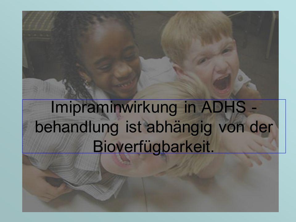 Imipraminwirkung in ADHS - behandlung ist abhängig von der Bioverfügbarkeit.