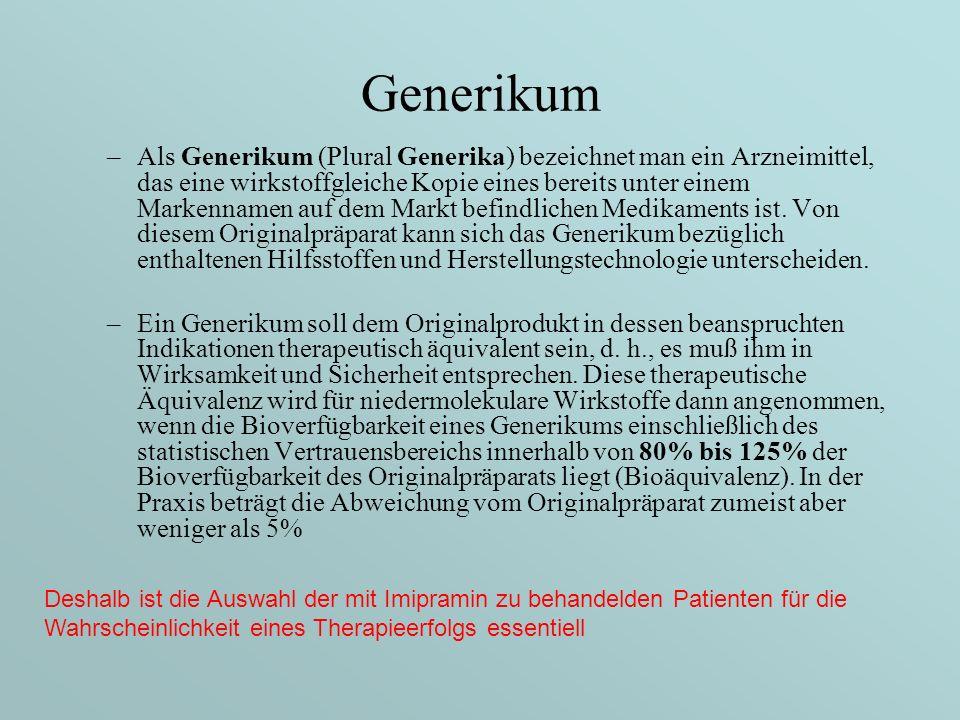 Generikum –Als Generikum (Plural Generika) bezeichnet man ein Arzneimittel, das eine wirkstoffgleiche Kopie eines bereits unter einem Markennamen auf dem Markt befindlichen Medikaments ist.