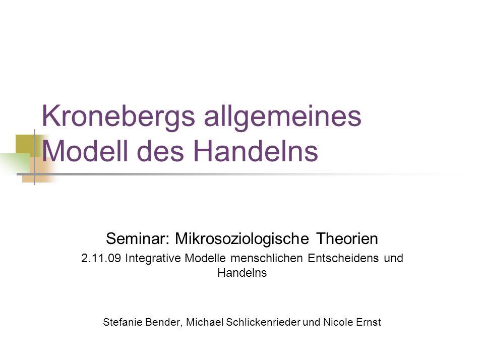 Kronebergs allgemeines Modell des Handelns Seminar: Mikrosoziologische Theorien 2.11.09 Integrative Modelle menschlichen Entscheidens und Handelns Stefanie Bender, Michael Schlickenrieder und Nicole Ernst