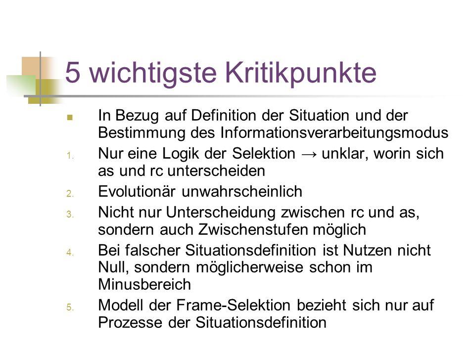 5 wichtigste Kritikpunkte In Bezug auf Definition der Situation und der Bestimmung des Informationsverarbeitungsmodus 1.