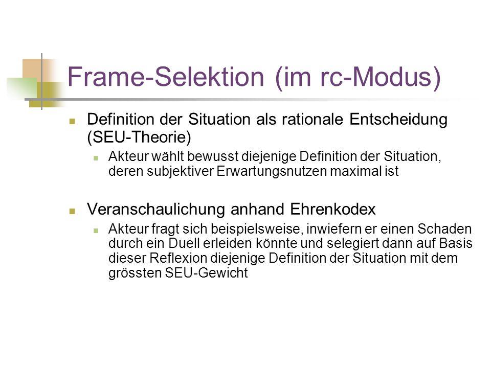 Frame-Selektion (im rc-Modus) Definition der Situation als rationale Entscheidung (SEU-Theorie) Akteur wählt bewusst diejenige Definition der Situation, deren subjektiver Erwartungsnutzen maximal ist Veranschaulichung anhand Ehrenkodex Akteur fragt sich beispielsweise, inwiefern er einen Schaden durch ein Duell erleiden könnte und selegiert dann auf Basis dieser Reflexion diejenige Definition der Situation mit dem grössten SEU-Gewicht