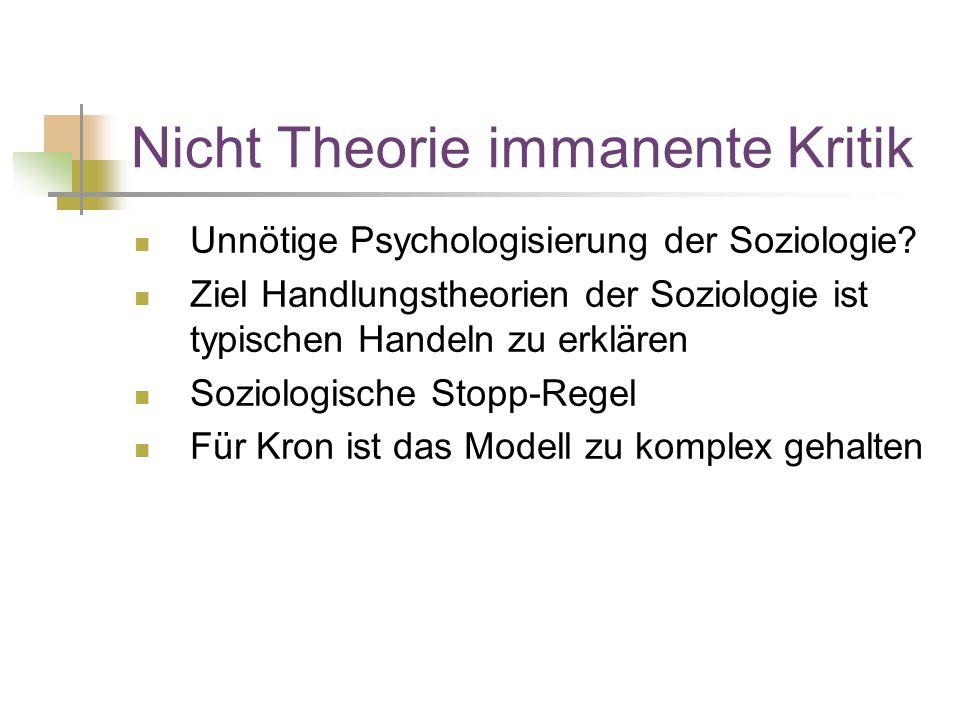 Nicht Theorie immanente Kritik Unnötige Psychologisierung der Soziologie.