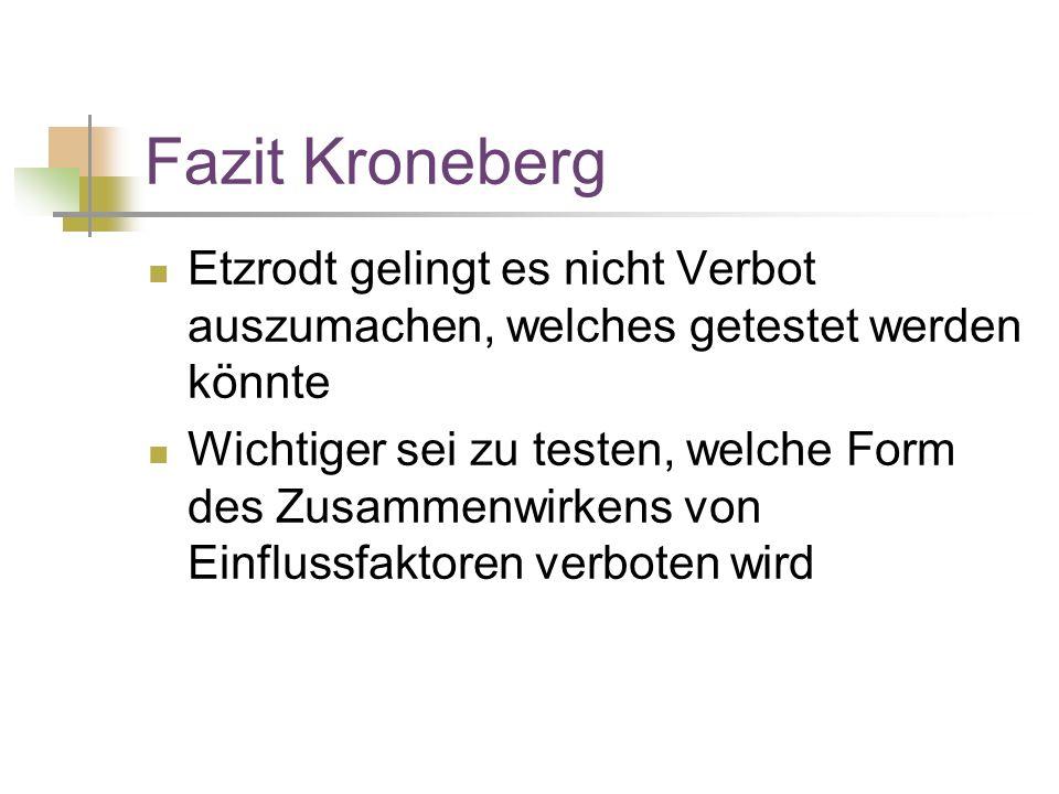 Fazit Kroneberg Etzrodt gelingt es nicht Verbot auszumachen, welches getestet werden könnte Wichtiger sei zu testen, welche Form des Zusammenwirkens von Einflussfaktoren verboten wird