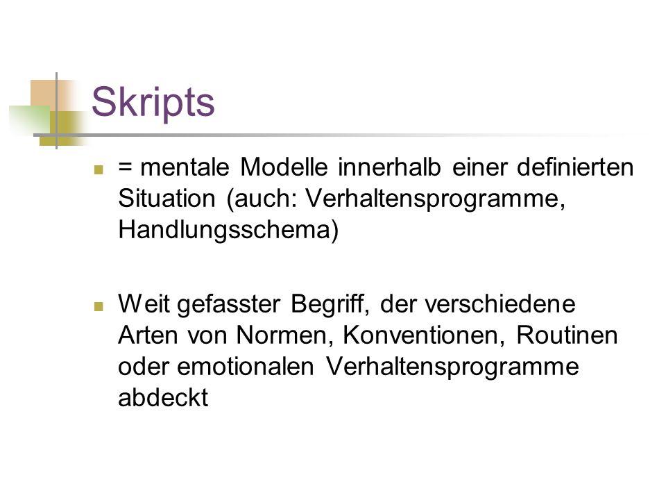 Skripts = mentale Modelle innerhalb einer definierten Situation (auch: Verhaltensprogramme, Handlungsschema) Weit gefasster Begriff, der verschiedene Arten von Normen, Konventionen, Routinen oder emotionalen Verhaltensprogramme abdeckt