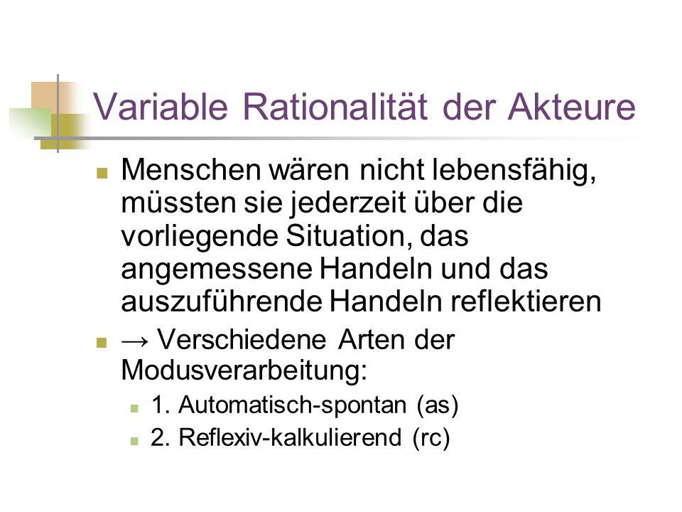 Variable Rationalität der Akteure Menschen wären nicht lebensfähig, müssten sie jederzeit über die vorliegende Situation, das angemessene Handeln und das auszuführende Handeln reflektieren → Verschiedene Arten der Modusverarbeitung: 1.