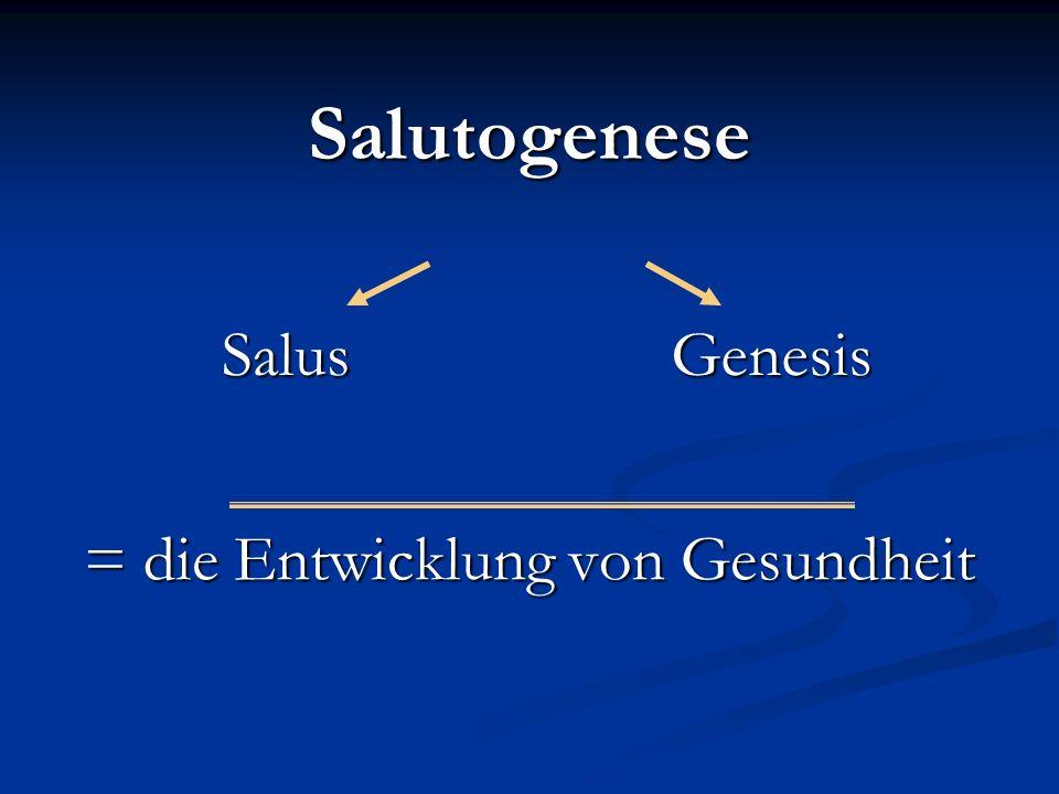 Salutogenese SalusGenesis = die Entwicklung von Gesundheit