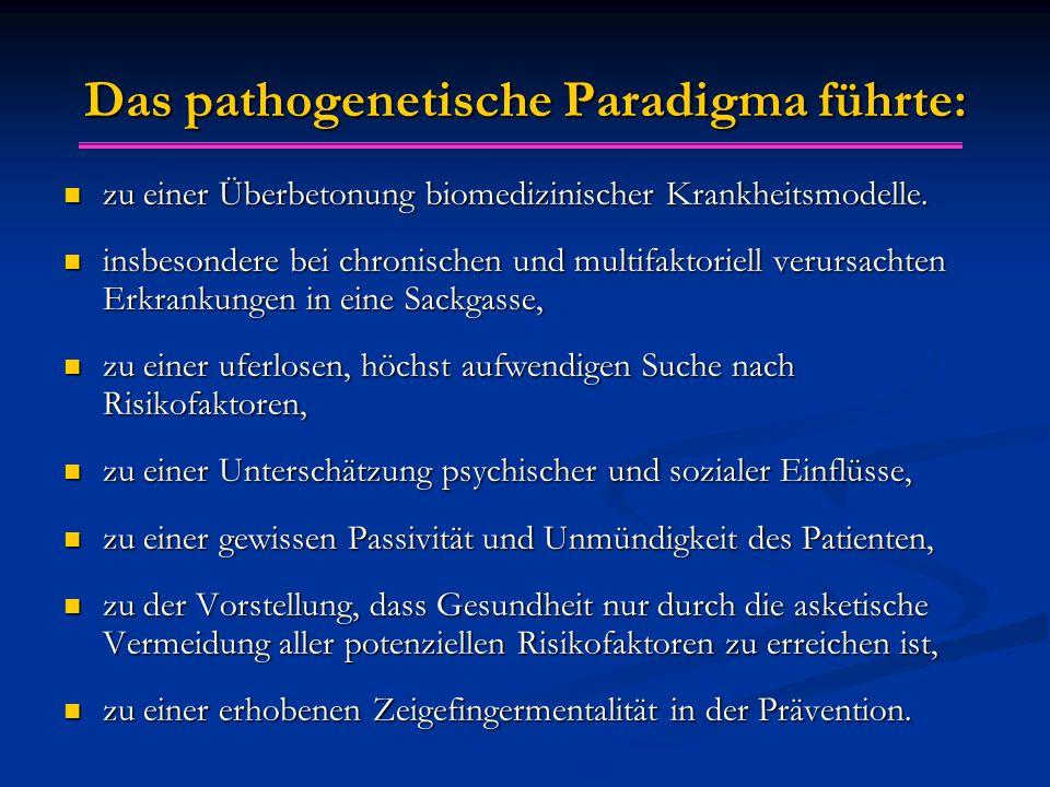 Das pathogenetische Paradigma führte: zu einer Überbetonung biomedizinischer Krankheitsmodelle. zu einer Überbetonung biomedizinischer Krankheitsmodel