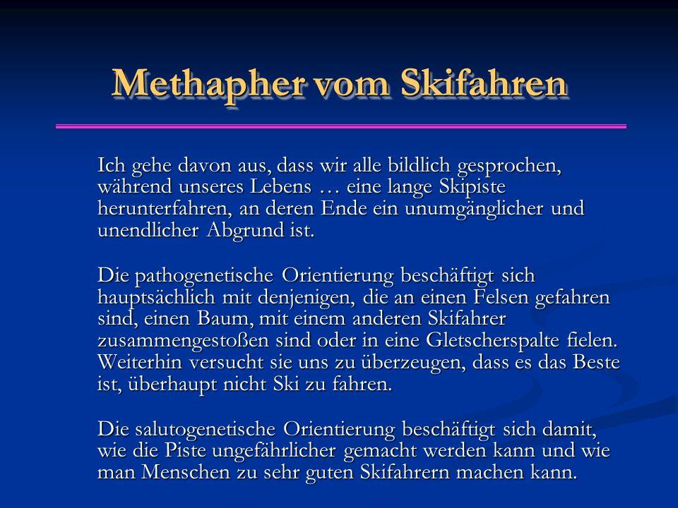 Methapher vom Skifahren Ich gehe davon aus, dass wir alle bildlich gesprochen, während unseres Lebens … eine lange Skipiste herunterfahren, an deren E