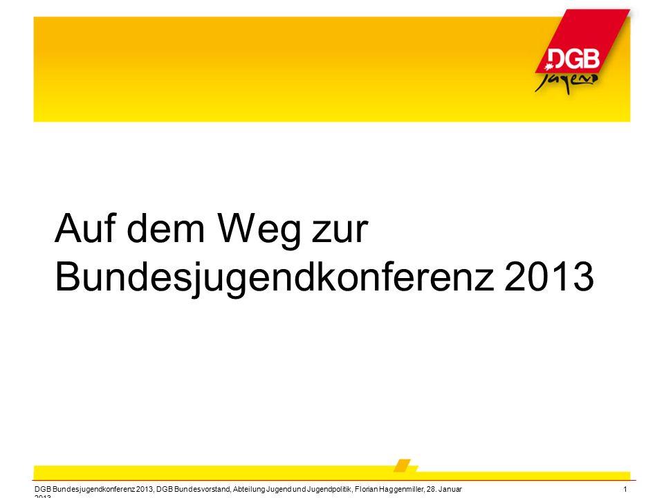 DGB Bundesjugendkonferenz 2013, DGB Bundesvorstand, Abteilung Jugend und Jugendpolitik, Florian Haggenmiller, 28. Januar 2013 1 Auf dem Weg zur Bundes
