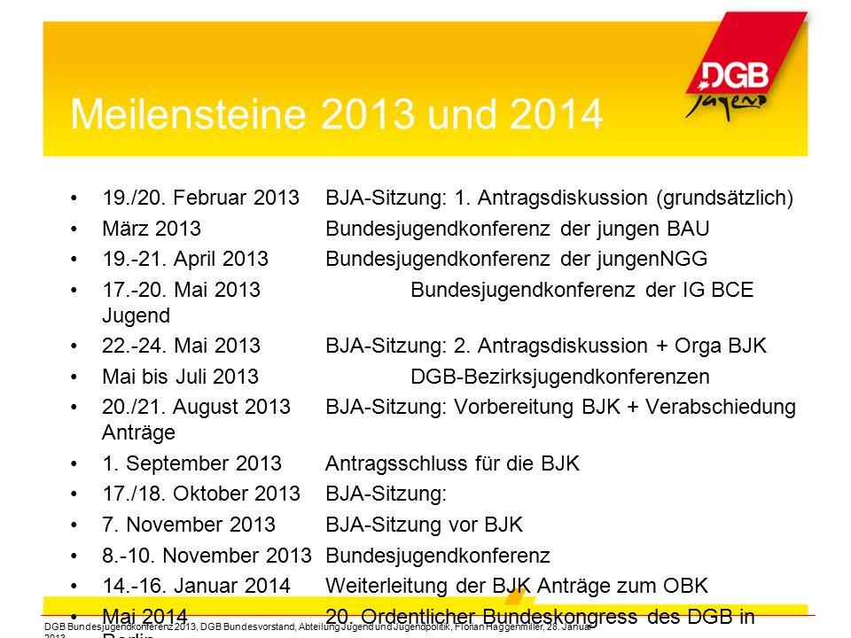 Meilensteine 2013 und 2014 19./20. Februar 2013BJA-Sitzung: 1. Antragsdiskussion (grundsätzlich) März 2013Bundesjugendkonferenz der jungen BAU 19.-21.