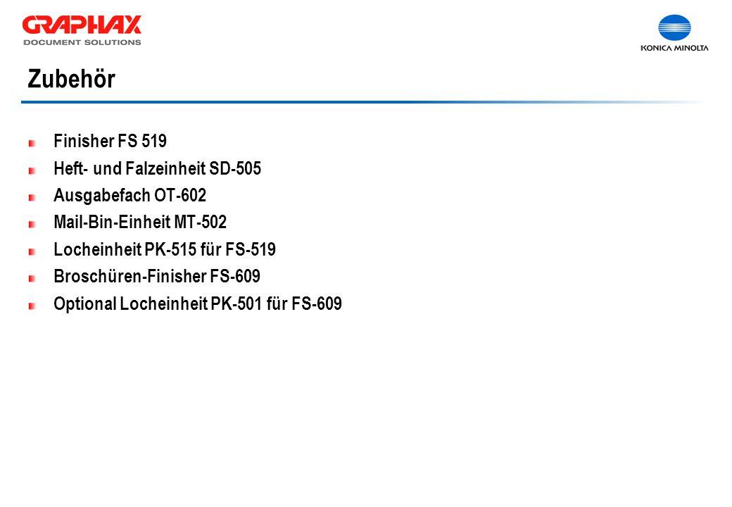 Zubehör Finisher FS 519 Heft- und Falzeinheit SD-505 Ausgabefach OT-602 Mail-Bin-Einheit MT-502 Locheinheit PK-515 für FS-519 Broschüren-Finisher FS-609 Optional Locheinheit PK-501 für FS-609