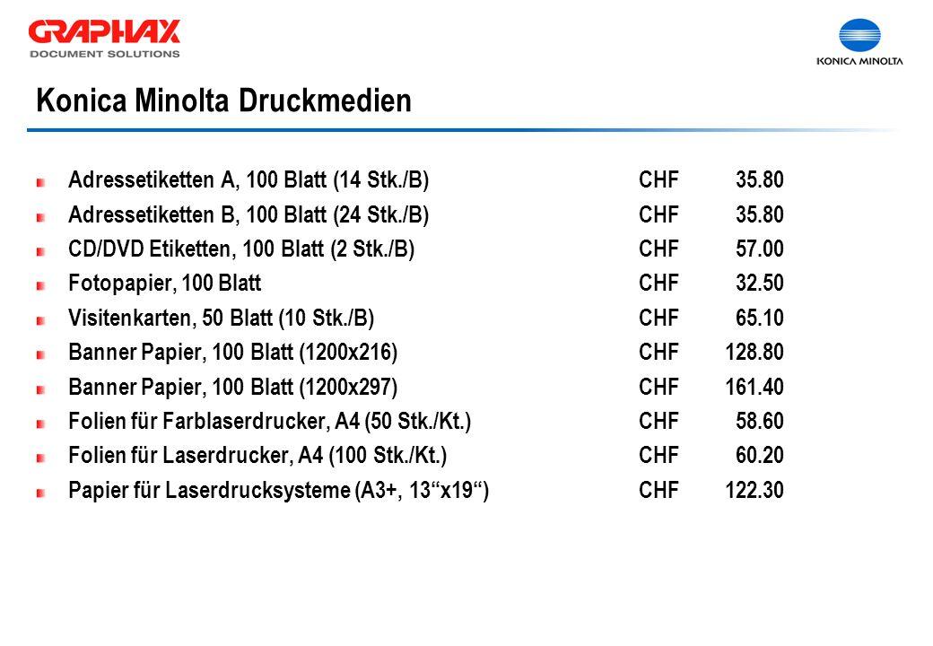 Adressetiketten A, 100 Blatt (14 Stk./B)CHF 35.80 Adressetiketten B, 100 Blatt (24 Stk./B)CHF 35.80 CD/DVD Etiketten, 100 Blatt (2 Stk./B)CHF 57.00 Fo
