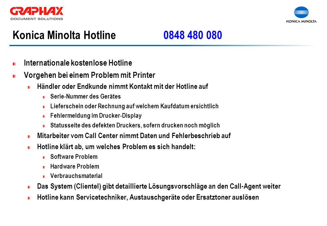 Konica Minolta Hotline0848 480 080 Internationale kostenlose Hotline Vorgehen bei einem Problem mit Printer Händler oder Endkunde nimmt Kontakt mit de