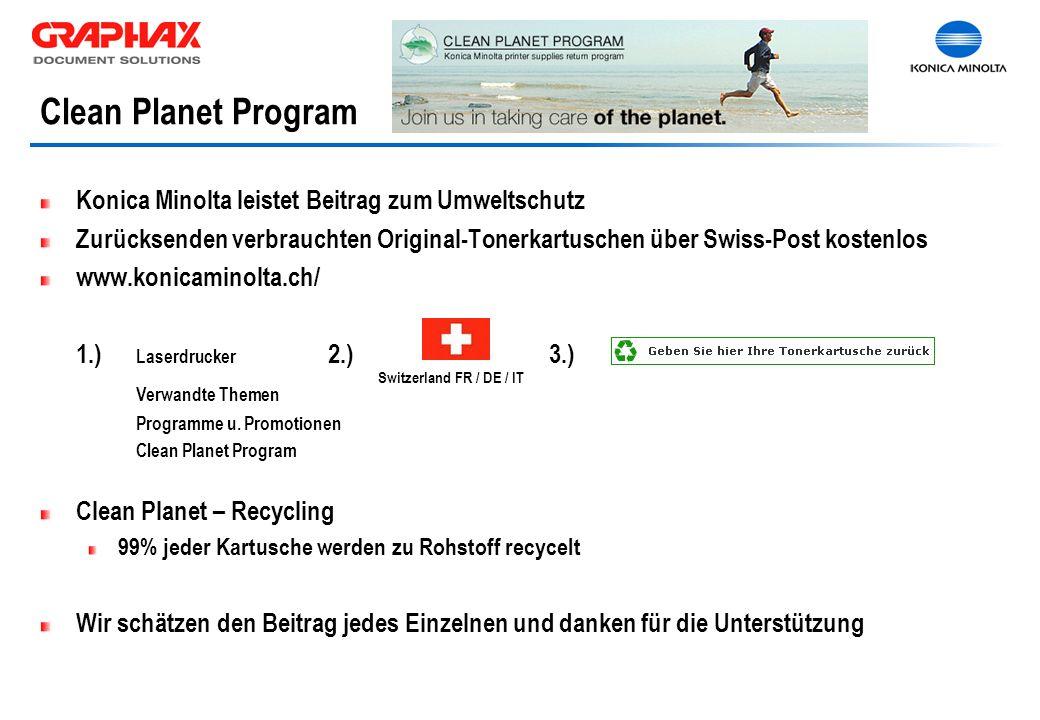 Clean Planet Program Konica Minolta leistet Beitrag zum Umweltschutz Zurücksenden verbrauchten Original-Tonerkartuschen über Swiss-Post kostenlos www.