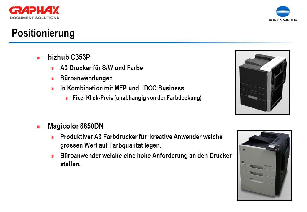 bizhub C353P A3 Drucker für S/W und Farbe Büroanwendungen In Kombination mit MFP und iDOC Business Fixer Klick-Preis (unabhängig von der Farbdeckung) Magicolor 8650DN Produktiver A3 Farbdrucker für kreative Anwender welche grossen Wert auf Farbqualität legen.