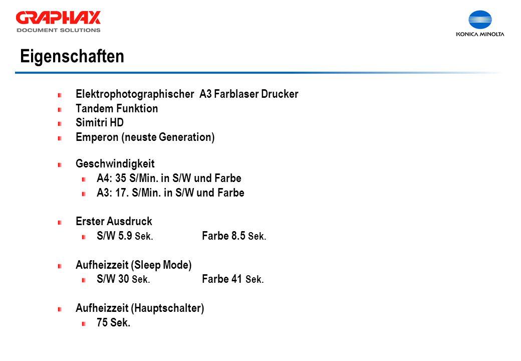 Elektrophotographischer A3 Farblaser Drucker Tandem Funktion Simitri HD Emperon (neuste Generation) Geschwindigkeit A4: 35 S/Min. in S/W und Farbe A3: