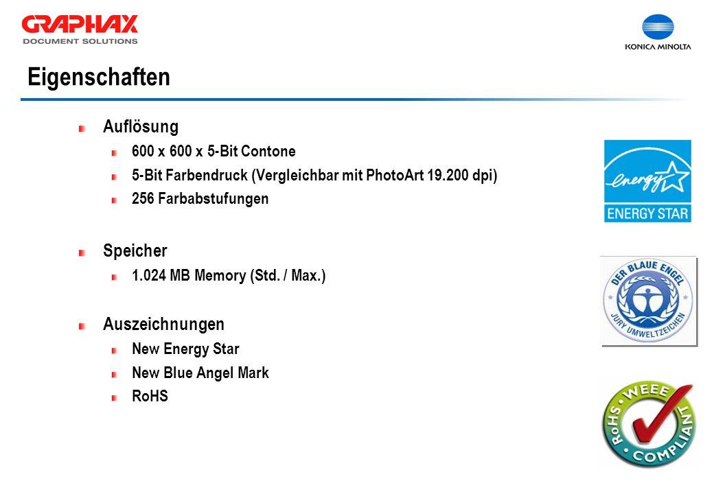 Auflösung 600 x 600 x 5-Bit Contone 5-Bit Farbendruck (Vergleichbar mit PhotoArt 19.200 dpi) 256 Farbabstufungen Speicher 1.024 MB Memory (Std.