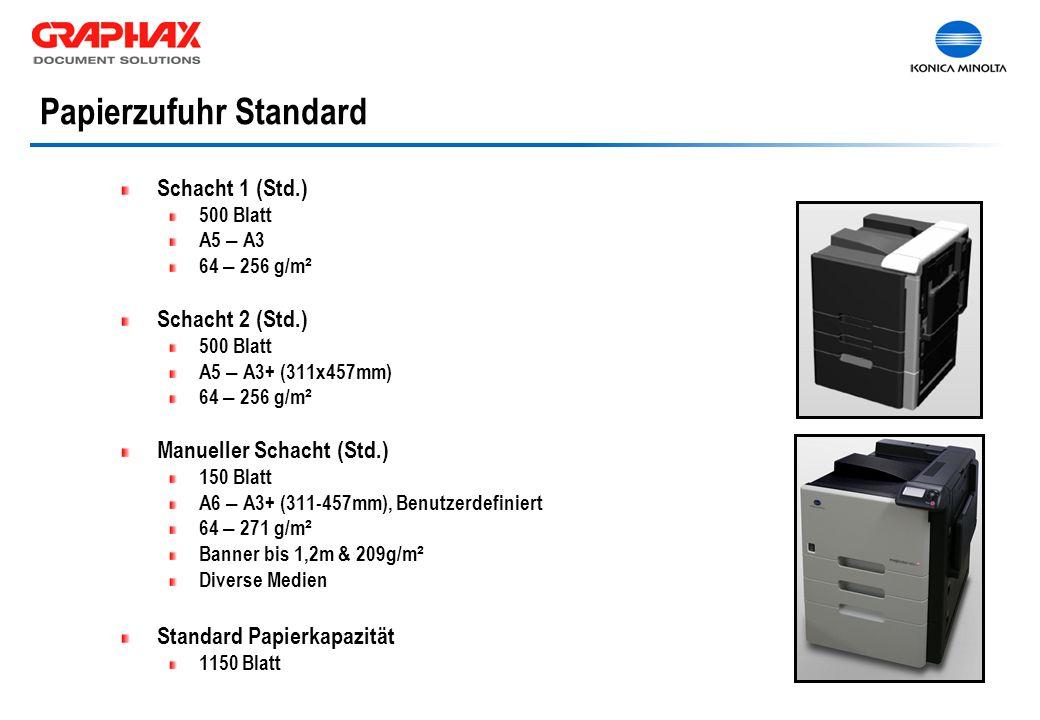 Schacht 1 (Std.) 500 Blatt A5 – A3 64 – 256 g/m ² Schacht 2 (Std.) 500 Blatt A5 – A3+ (311x457mm) 64 – 256 g/m ² Manueller Schacht (Std.) 150 Blatt A6 – A3+ (311-457mm), Benutzerdefiniert 64 – 271 g/m ² Banner bis 1,2m & 209g/m ² Diverse Medien Standard Papierkapazität 1150 Blatt Papierzufuhr Standard