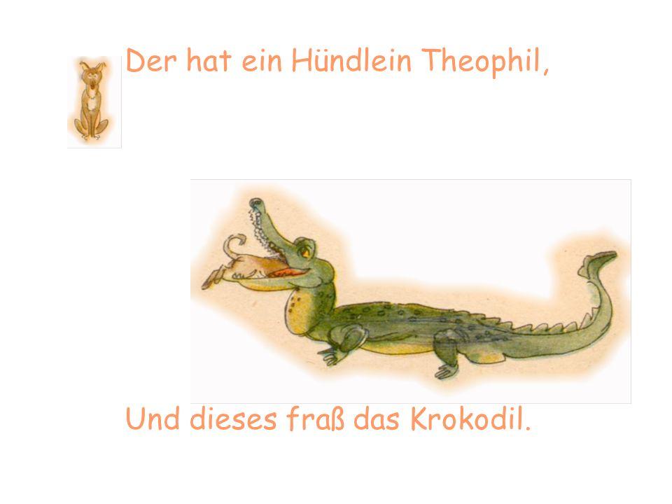 Der hat ein Hündlein Theophil, Und dieses fraß das Krokodil.