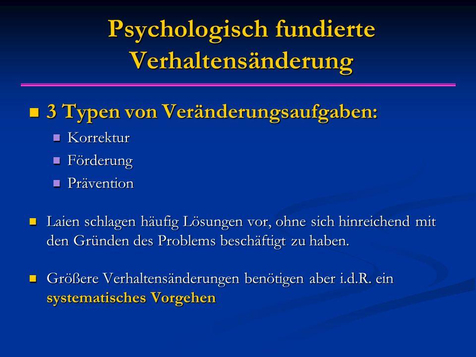 Psychologisch fundierte Verhaltensänderung 3 Typen von Veränderungsaufgaben: 3 Typen von Veränderungsaufgaben: Korrektur Korrektur Förderung Förderung